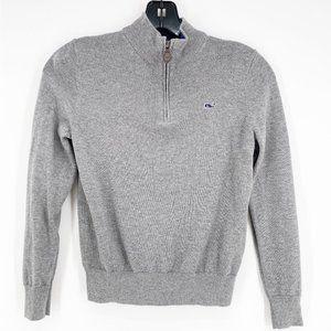 vineyard vines boys classic 1/4 zip sweater grey